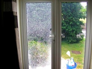 broken glass in a french door before - Sliding Patio Door Replacement