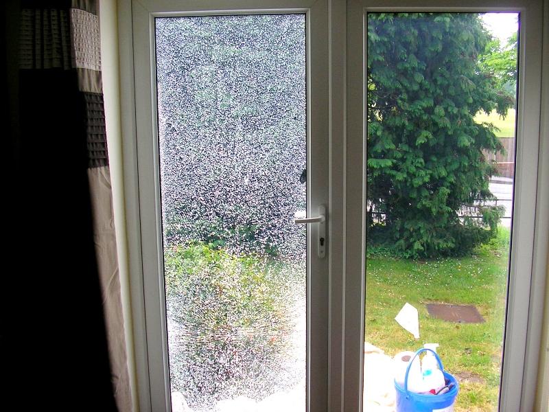 Broken glass in a french door (before)