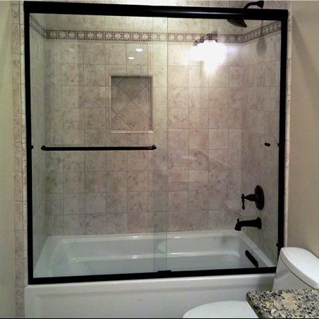 Euro Style Tub Enclosure With Clear Glass And Oil Rubbed Bronze Hardware  Finish