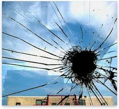 broken window annealed glass outside