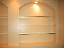 lovely built in glass shelves