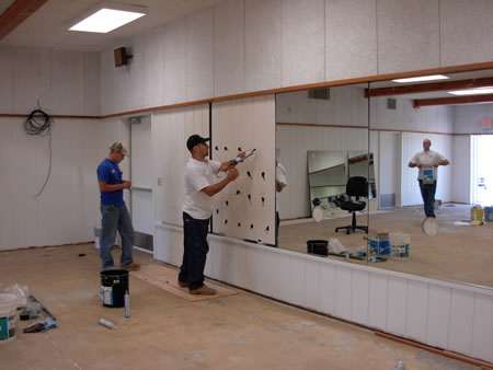 Dance studio Preparing the wall for mirror installation sacramento