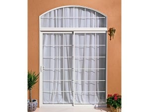 Aluminum Sliding Glass Door with Flat Grids white
