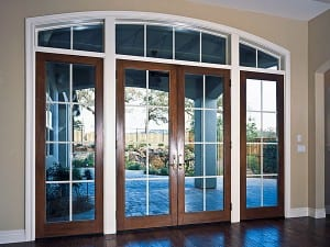Wood clad In Swing French Door dark wood