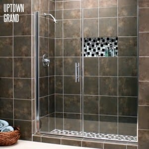 Uptown Grand series Frameless Shower Enclosure with chrome hardware and clear glass.