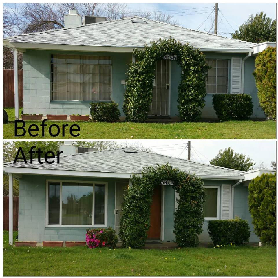 windows before and after house front