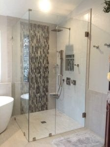 Glass Shower Enclosure - FramelessShower_GlueChipGlass sacramento bathroom remodel
