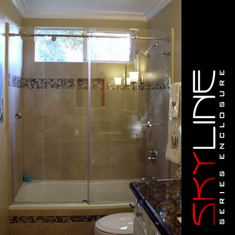 Glass - Tub Shower combo frameless Enclosure Skyline12 | sliding door