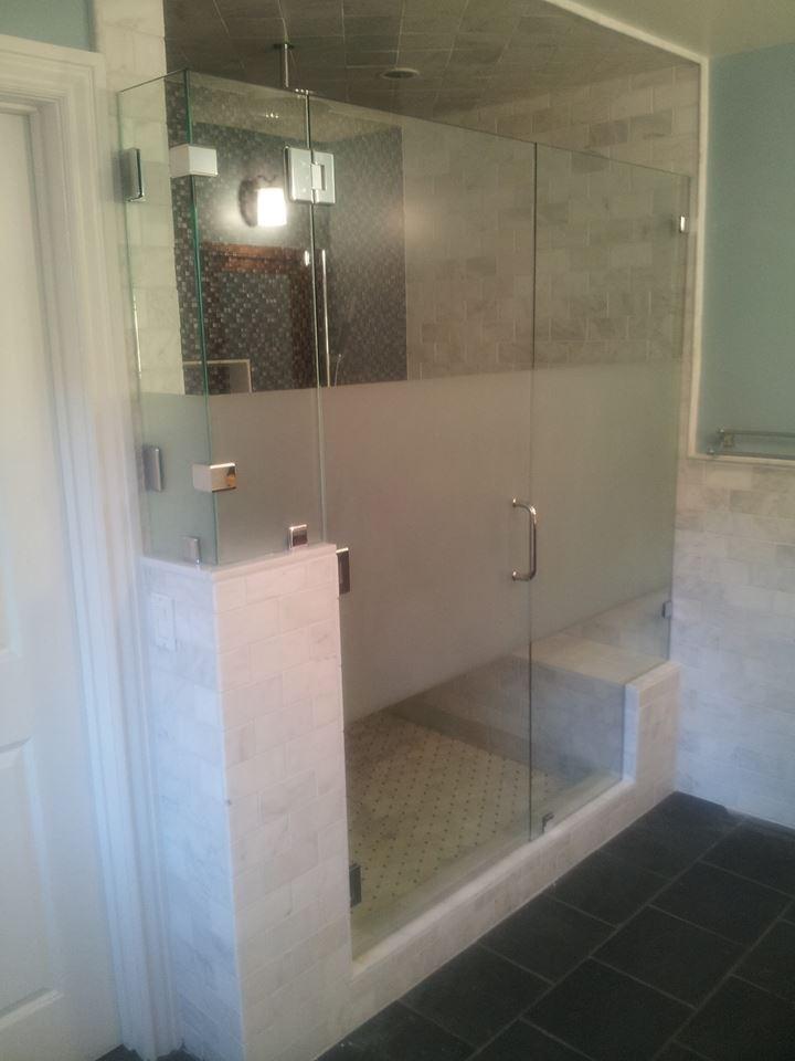 Glass - Shower Enclosure frameless_shower_sandblasting