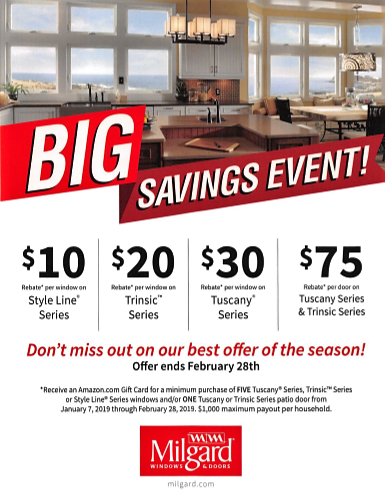 Milgard Big Savings Event Flyer Feb 2018