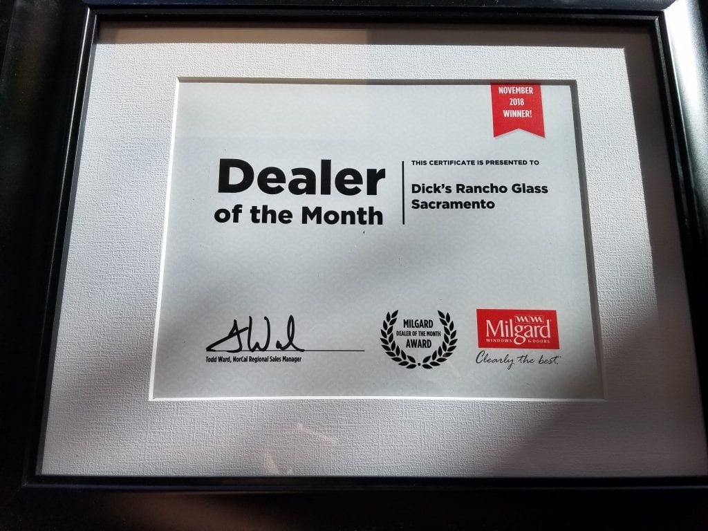 DRG Dealer of the Month Award from Milgard