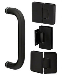 Frameless shower harware in Matte Black