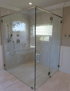 Frameless glass shower enclosure - no threshold - flush with floor