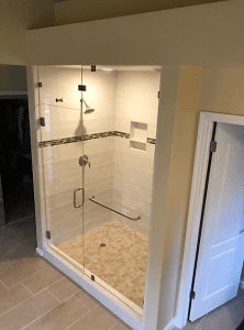 shower door - framless - with overhang and threshold