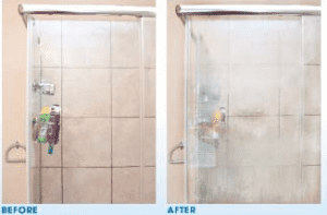 Before and after cleaning a glass shower door rancho cordova