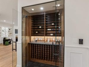 frameless glass wine room door