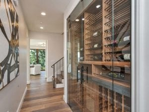 hallway wine cellar with glass doors